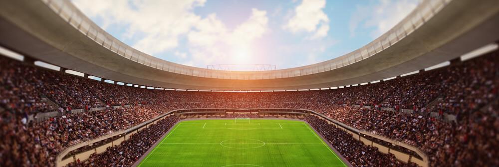 Voetbalstadion op behangpapier