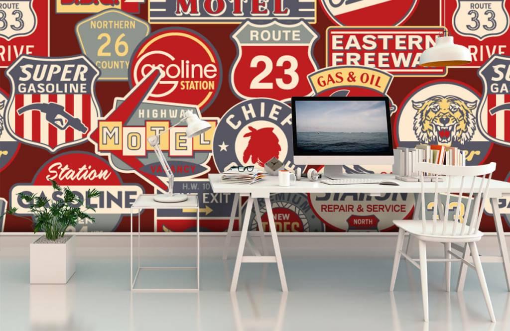 Tekst behang - Amerikaanse reclameborden - Kinderkamer 3