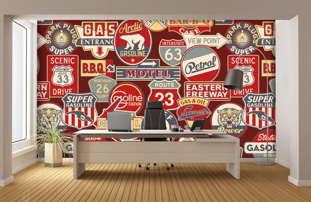 Tekst behang - Amerikaanse reclameborden - Kinderkamer 4