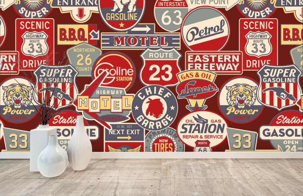 Tekst behang - Amerikaanse reclameborden - Kinderkamer 7