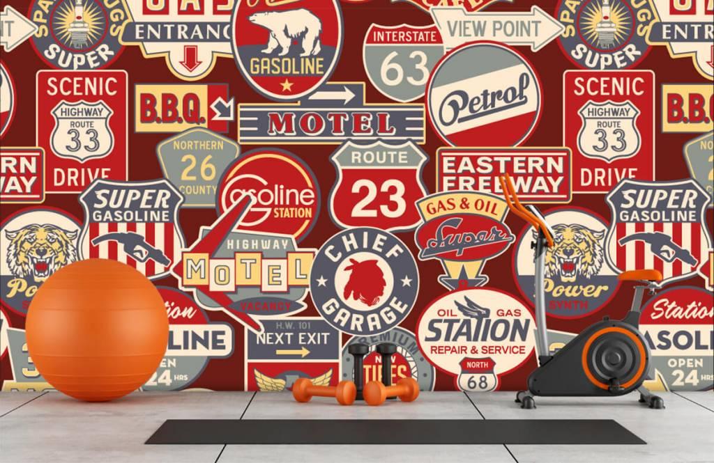 Tekst behang - Amerikaanse reclameborden - Kinderkamer 8