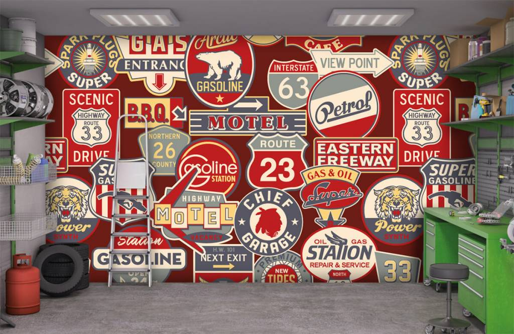 Tekst behang - Amerikaanse reclameborden - Kinderkamer 9