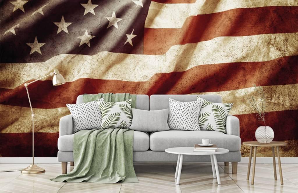 Jongensbehang - Amerikaanse vlag - Tienerkamer 2
