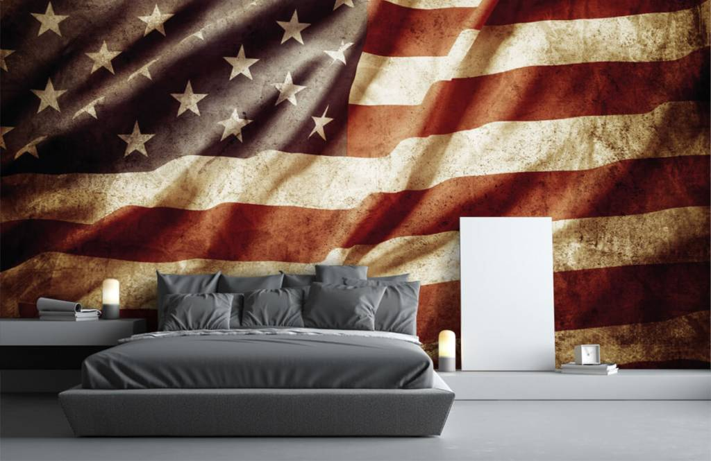 Jongensbehang - Amerikaanse vlag - Tienerkamer 4