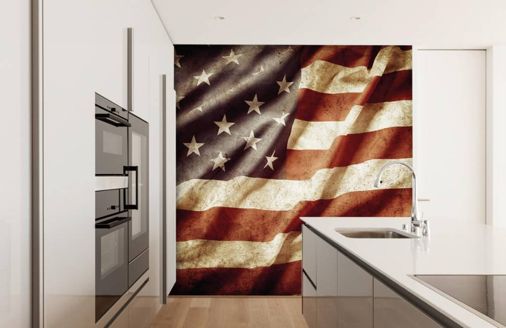 Jongensbehang - Amerikaanse vlag - Tienerkamer 5