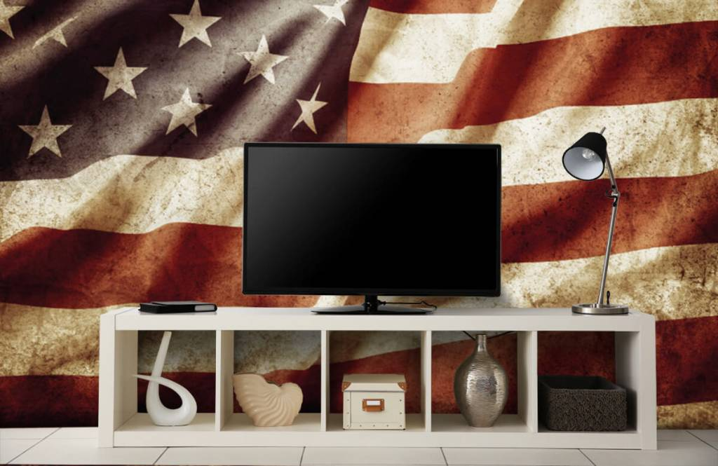 Jongensbehang - Amerikaanse vlag - Tienerkamer 6