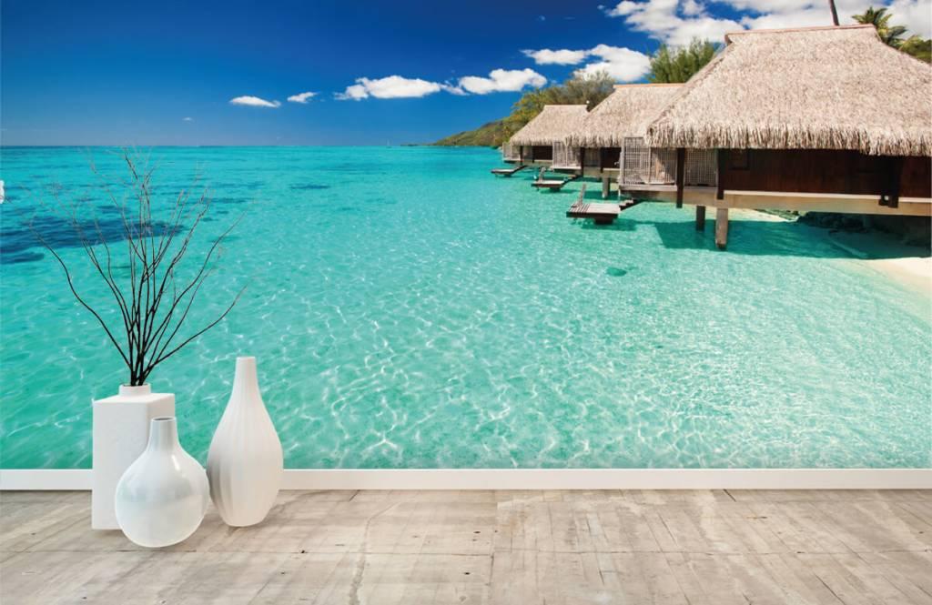 Strand behang - Huisjes op de Malediven - Hobbykamer 1