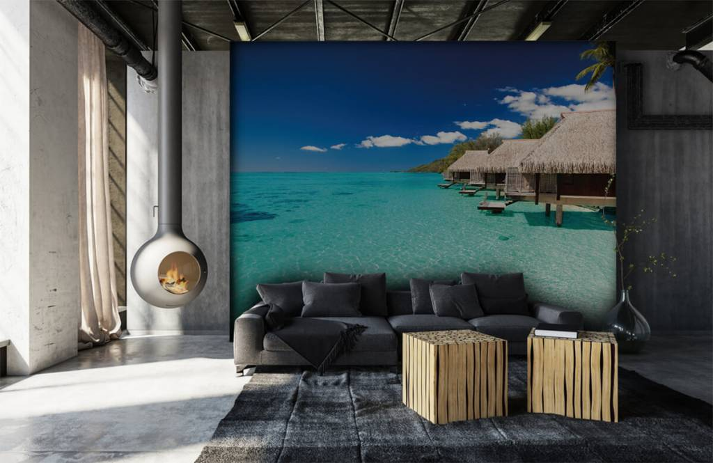 Strand behang - Huisjes op de Malediven - Hobbykamer 2