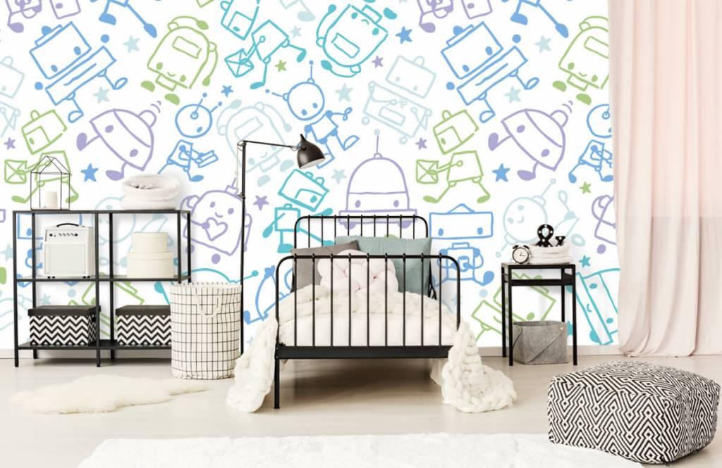 Kinderbehang - Kleurrijke ruimte mannetjes - Kinderkamer 2