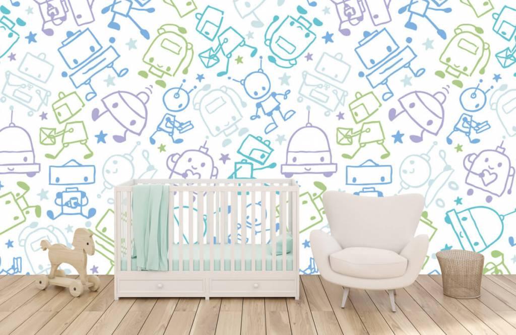 Kinderbehang - Kleurrijke ruimte mannetjes - Kinderkamer 5