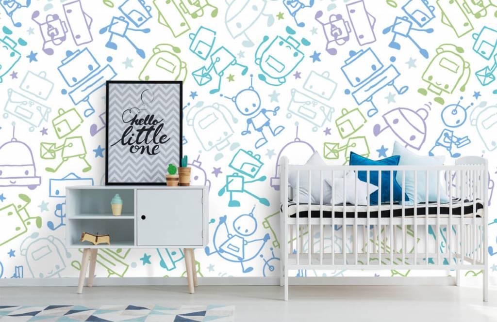 Kinderbehang - Kleurrijke ruimte mannetjes - Kinderkamer 6