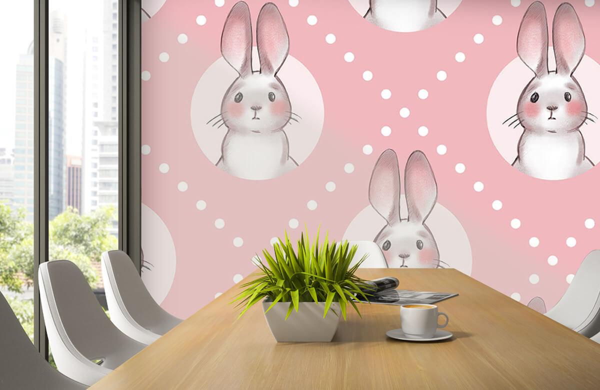 Dieren Roze konijnen patroon 6