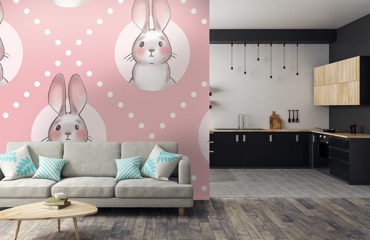 Dieren Roze konijnen patroon 10