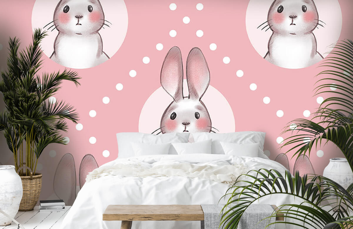 Dieren Roze konijnen patroon 7
