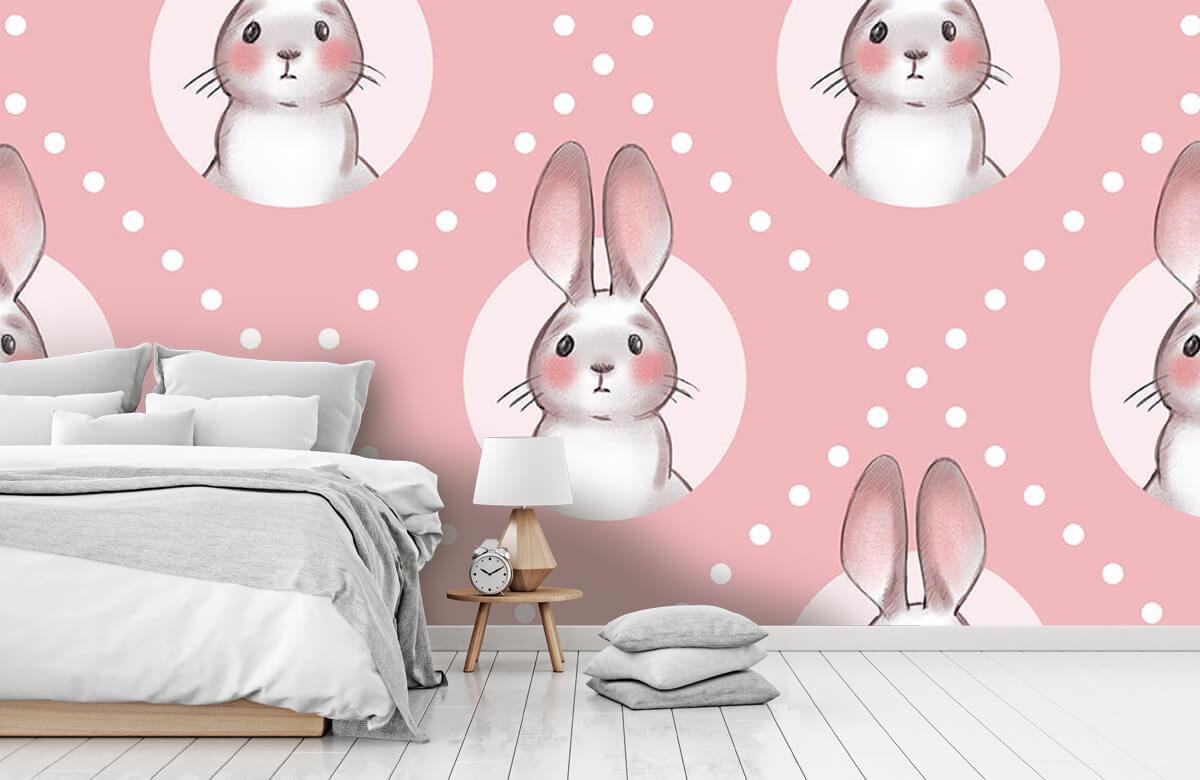 Dieren Roze konijnen patroon 2