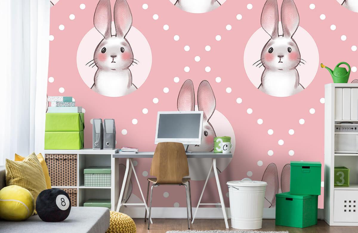Dieren Roze konijnen patroon 4