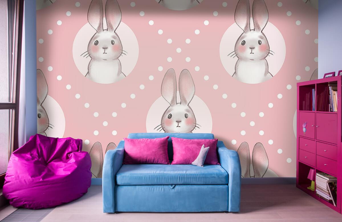 Dieren Roze konijnen patroon 1