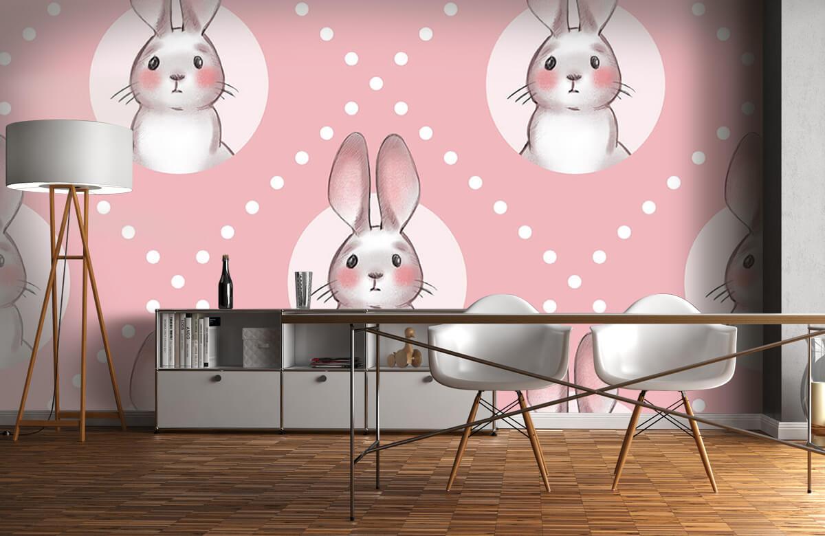 Dieren Roze konijnen patroon 5