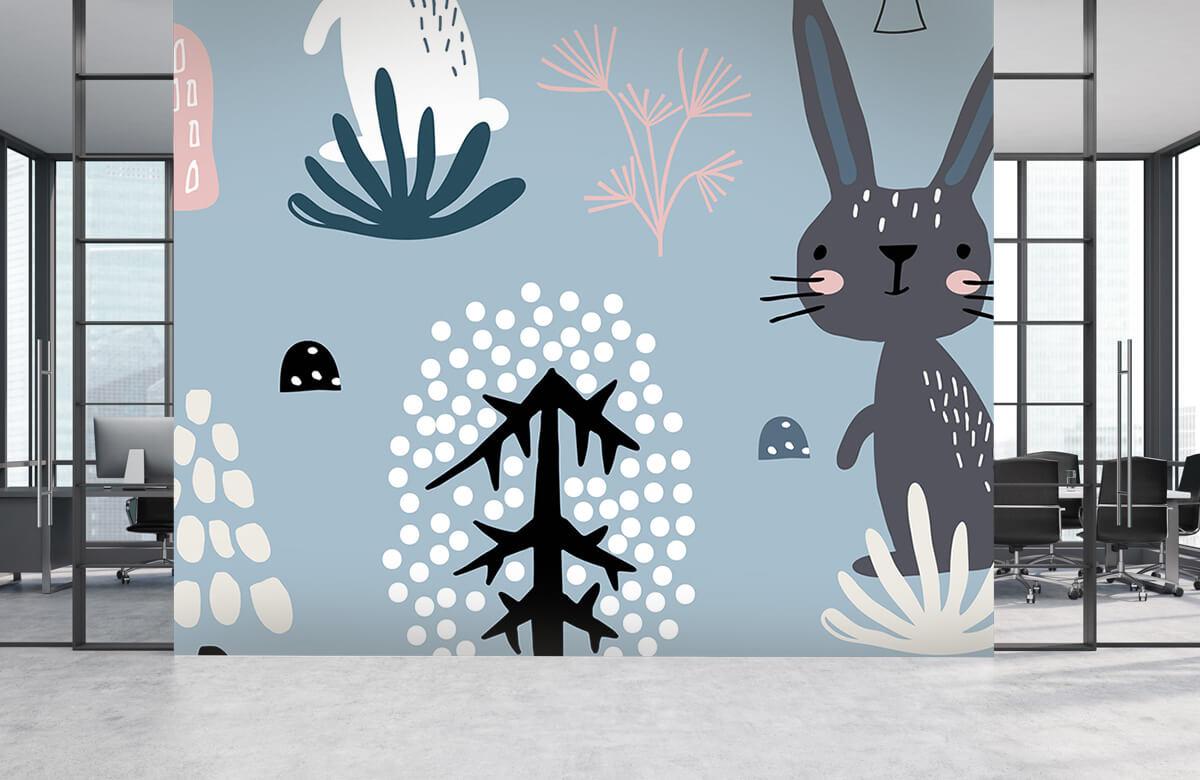 Dieren Blauw konijnen patroon 5