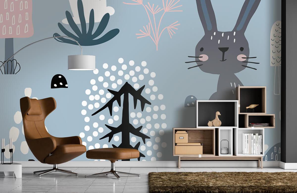 Dieren Blauw konijnen patroon 7