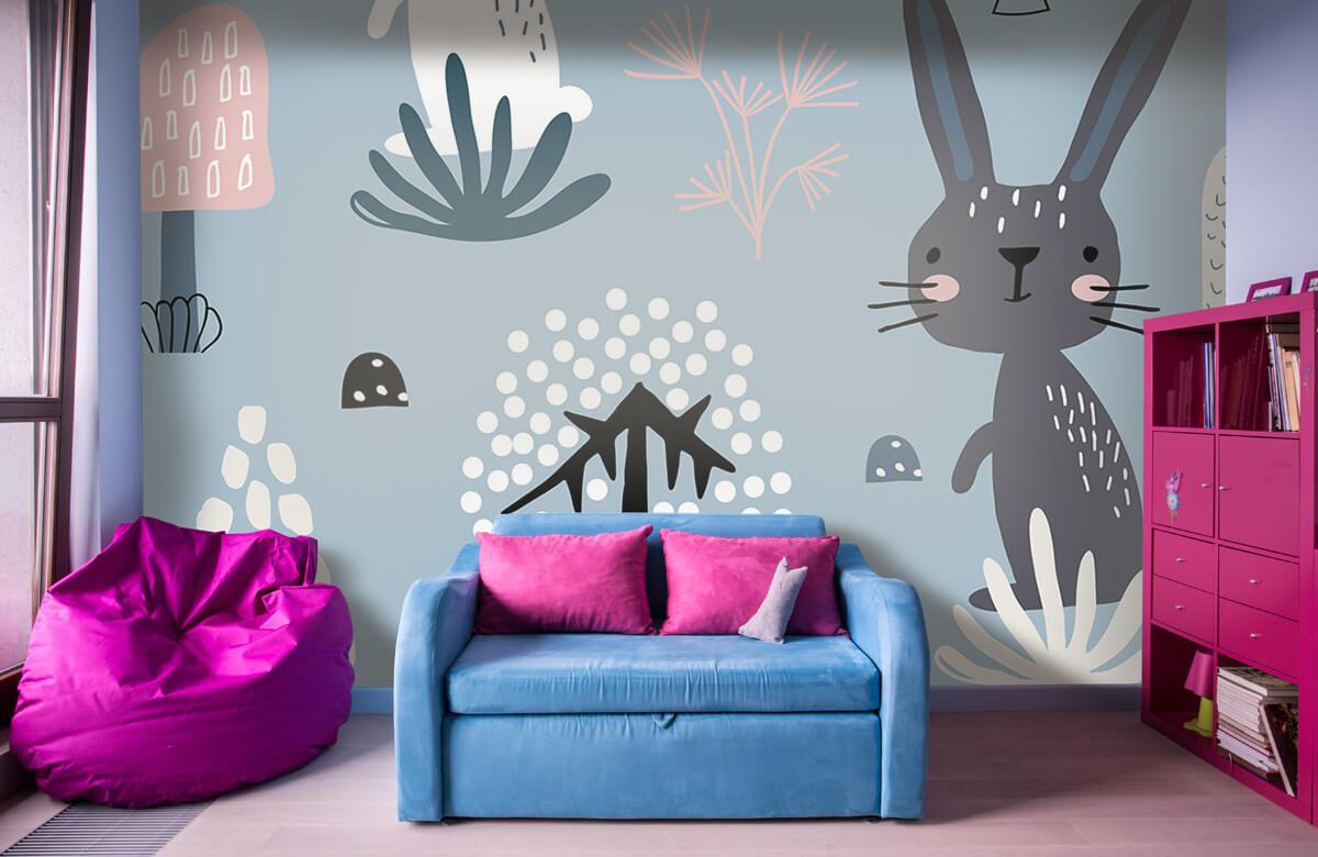 Dieren Blauw konijnen patroon 4