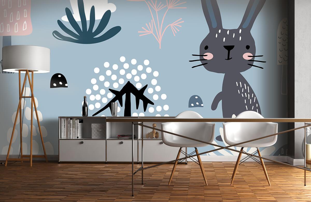 Dieren Blauw konijnen patroon 10