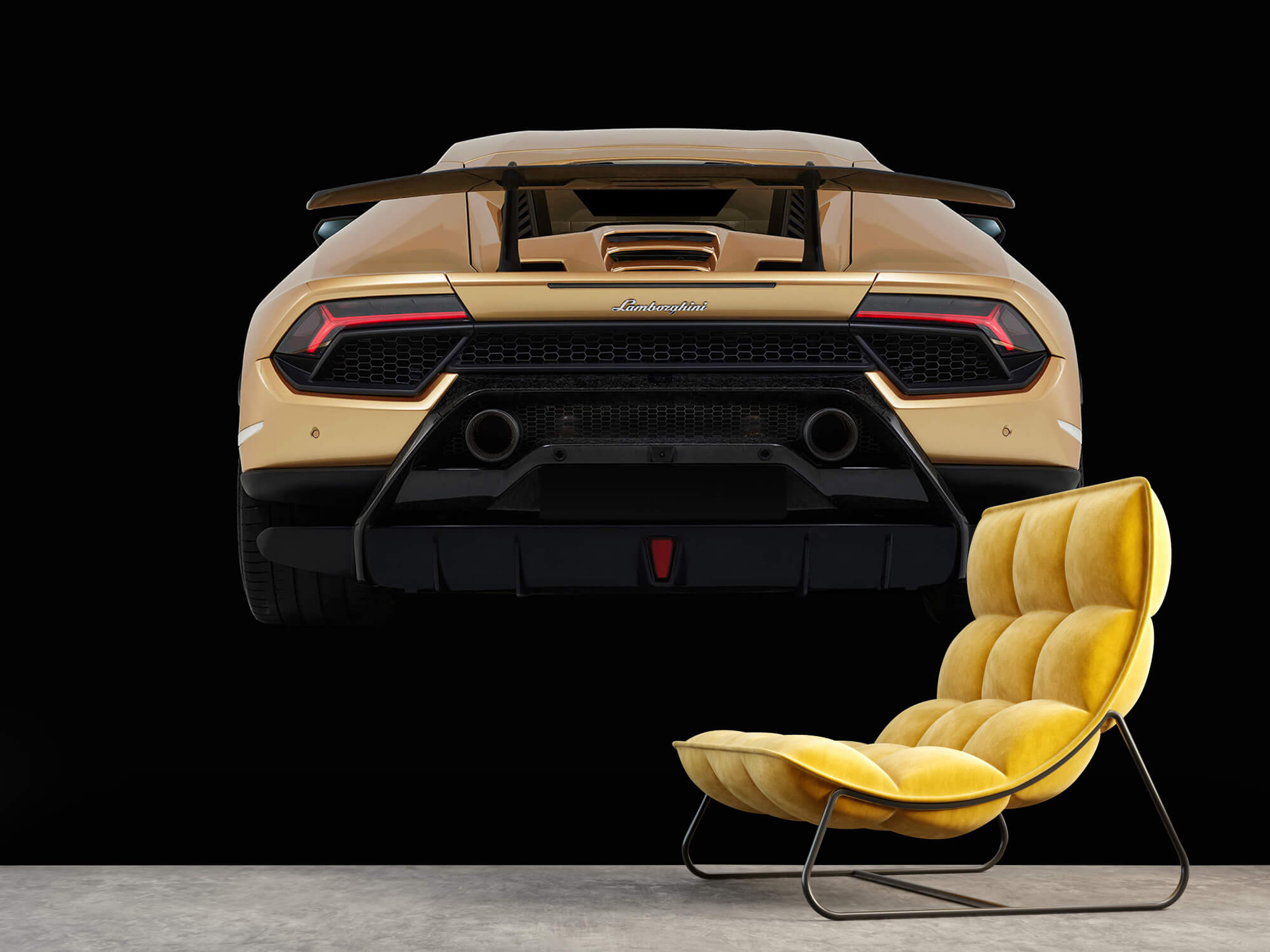 Wallpaper Lamborghini Huracán - Achterkant, zwart 10