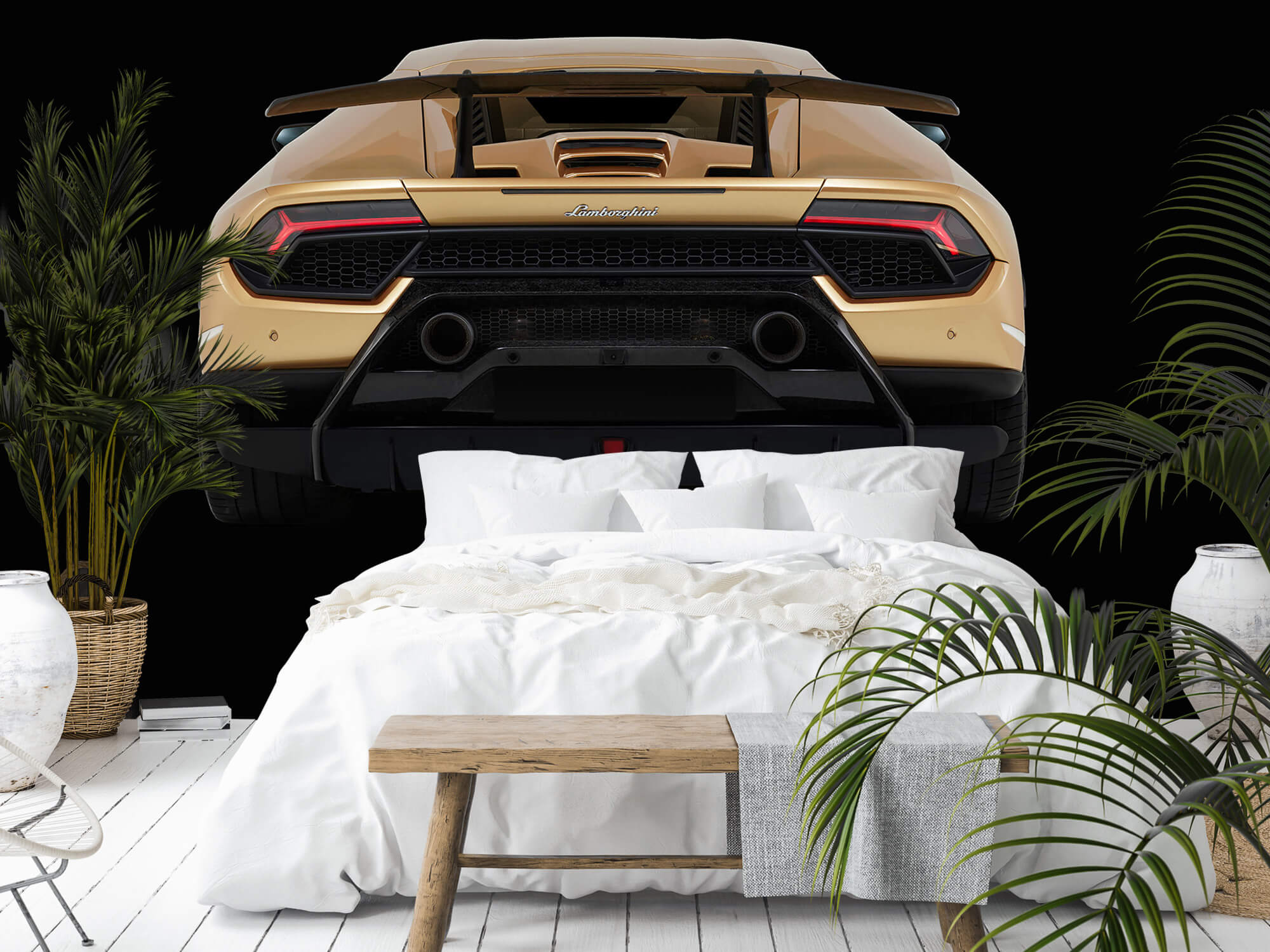 Wallpaper Lamborghini Huracán - Achterkant, zwart 9