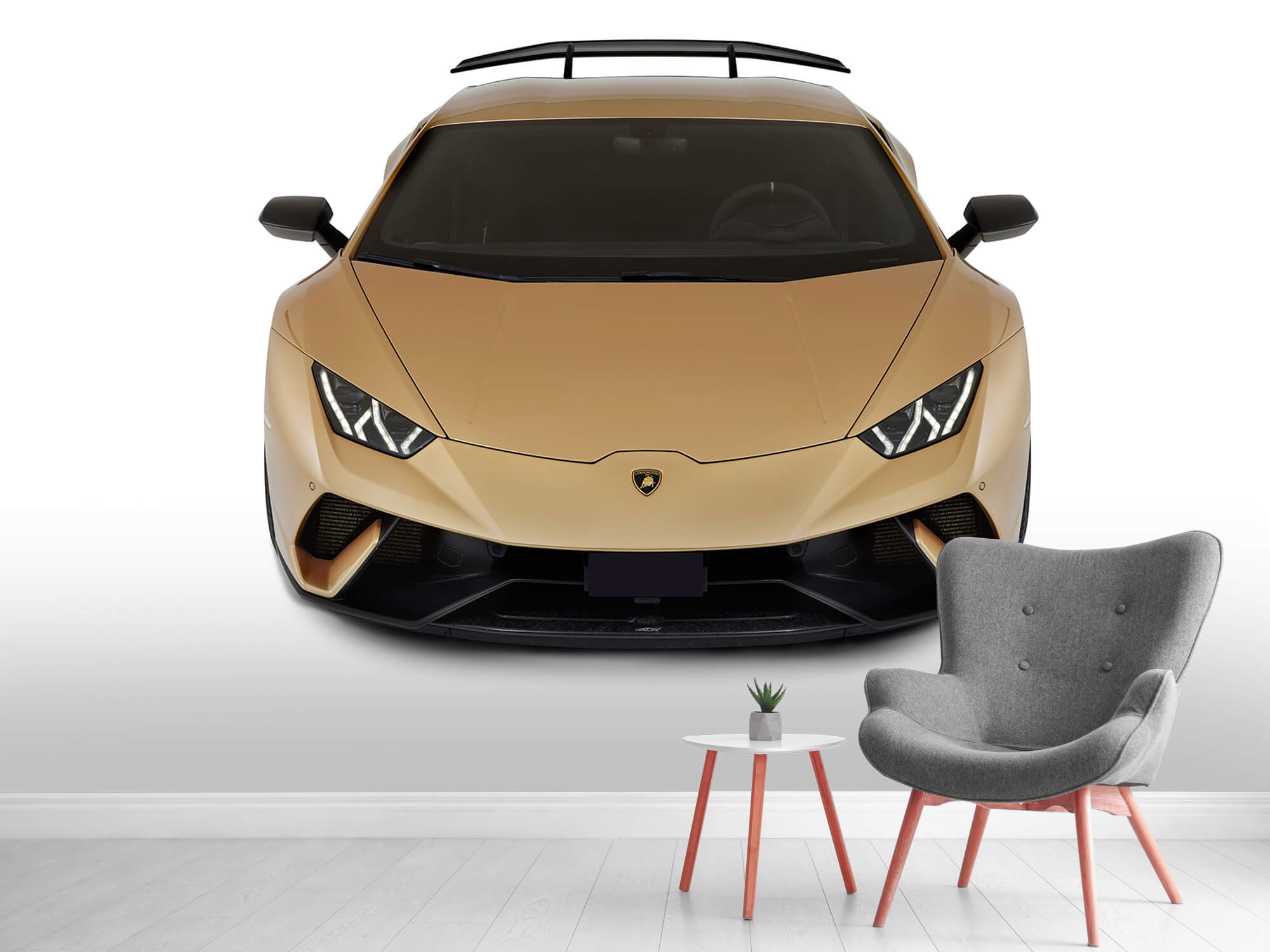 Wallpaper Lamborghini Huracán - Voorkant vanaf boven, wit 2