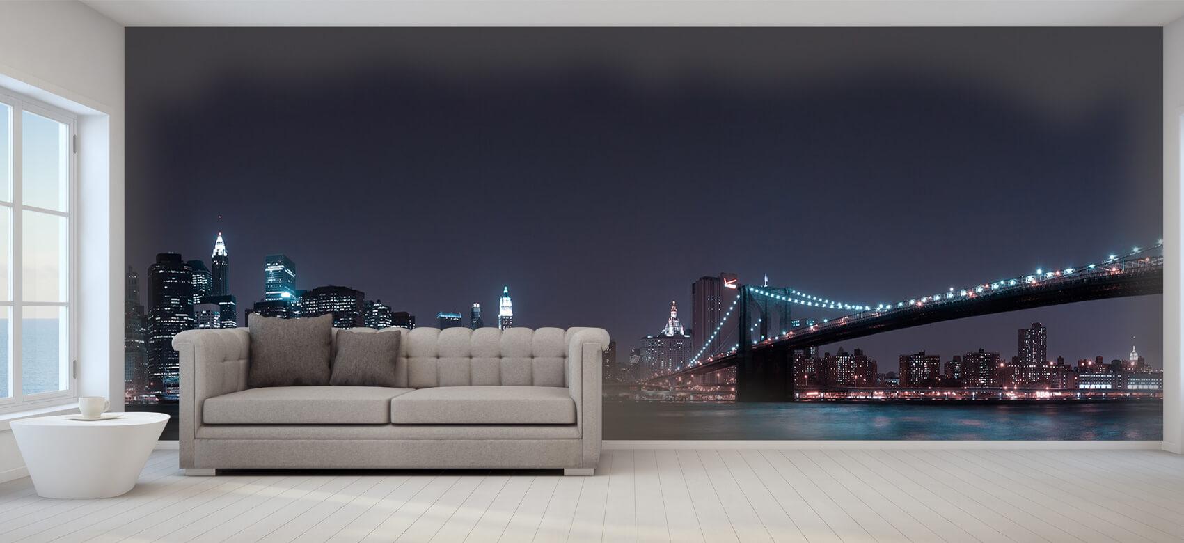 Nacht Manhattan Skyline and Brooklyn Bridge 8